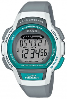 Casio Collection Kinderuhr 3 Tagesalarme 10 BAR graues Resinband LWS-1000H-8AVEF