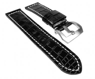 Uhrenarmband Ersatzband Leder Band Alligatorprägung - Schwarz mit heller Naht 24234