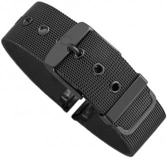 Minott Milanaise | Uhrenarmband Edelstahl Band schwarz mit Dornschließe 30559
