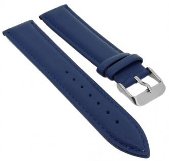 Minott Uhrenarmband Leder blau Band mit Ton in Ton Naht