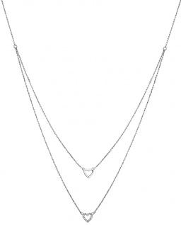 Lotus Silver Halsschmuck Collier Kette mit Herz Anhänger Silber LP1516-1/1