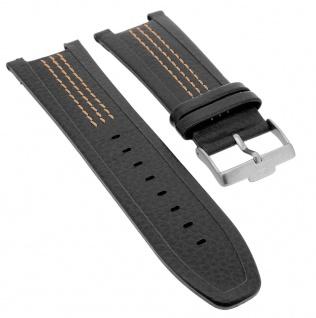 Jacques Lemans Chronograph Ersatzband Anti- Allergic Leder in schwarz mit Kontrastnaht 1-1455E