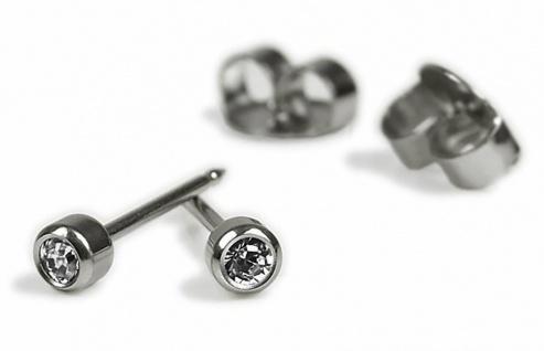 STUDEX Erstohrstecker Ohrschmuck Ohrringe aus Titan mit Kristall 100 % Steril 2, 8mm 24115T