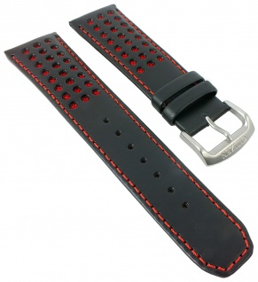 Citizen Red Arrows Uhrenarmband Leder 23mm rot/schwarz mit Lochmuster AT8060-09L