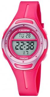 Calypso   Damenarmbanduhr Quarzuhr Digitaluhr Kunststoffuhr mit Alarm Stoppfunktion rosa/pink K5727/5