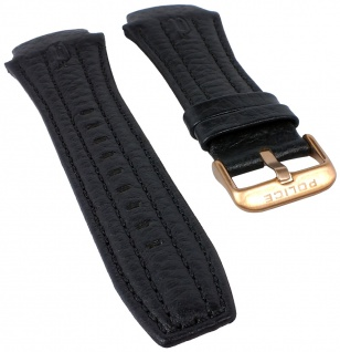 Police Adventure Uhrenarmband Leder schwarz mit Ton-in-Ton Naht für P13891JSR/02