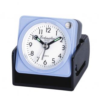 Wecker Reisewecker Alarm Analog Snooze Kunststoff blau eckig mit Schutzkappe