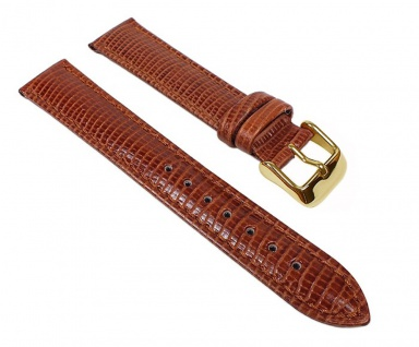 Lizard-Print Ersatzband Uhrenarmband Kalbsleder Braun 22899G