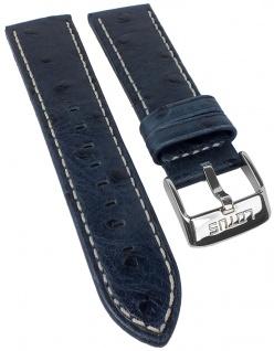 Lotus | Uhrenarmband Leder Band dunkelblau mit Straußprägung und heller Naht 24mm für Modell L15420/4