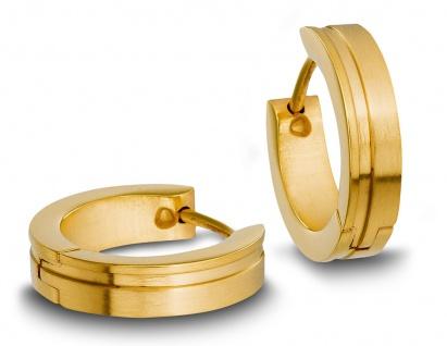 Minott Edelstahl Damen Ohrschmuck Ohrringe Creolen | gelbgoldfarben mit Einkerbung 31434