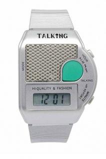 Sprechende Armbanduhr | Quartz-Uhr aus Kunststoff | mit Weckfunktion | Digital 36835