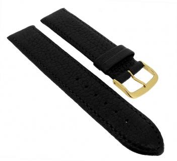 Minott Ersatzband Uhrenarmband 12mm - 20mm   Hirschleder schwarz genarbt mit Naht 32245G