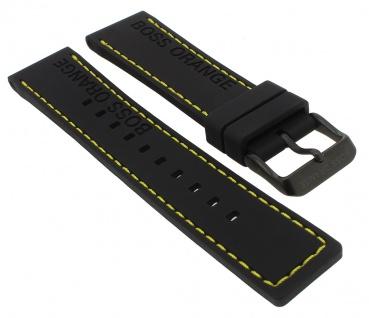 Hugo Boss Orange | Ersatzband Silikon schwarz | Dornschließe schwarz für 1513243