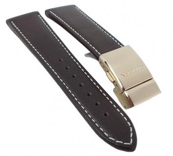 Citizen Uhrenarmband Ersatzband Leder Band dunkelbraun 23mm passend zu Elegant Chrono AT8019-02W