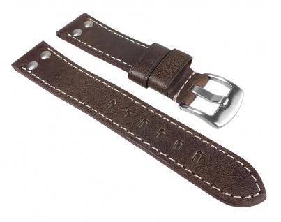 Uhrenarmband Vintage Look Leder Band Dunkelbraun 24769S