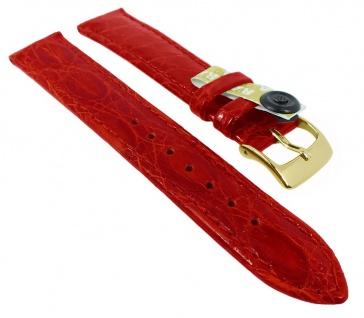 Uhrenarmband | echt Krokodil > Leder aus der Flanke | rot, glänzend 35441