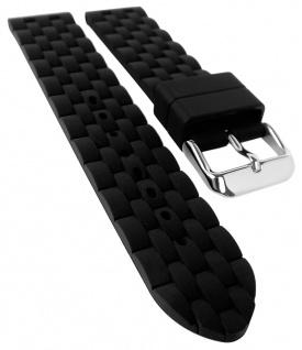 Herzog Rubber Style Ersatzband 20mm schwarz Kunststoff Band gleichlaufend Metalbandoptik