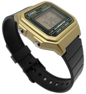 Casio Collection Digital Herrenuhr Resin schwarz/gelbgoldfaben W-217HM-9AVEF