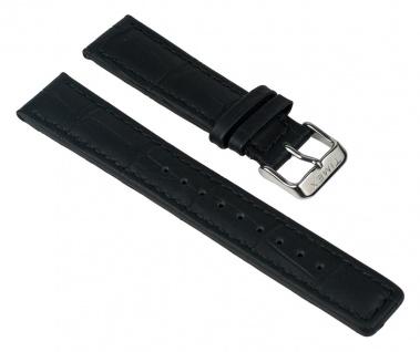 Uhrenarmband Leder Band in Kroko-Optik schwarz 20mm passend zu Timex T2D951 T2D921 T2D931 T2D941