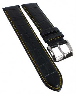 Hugo Boss Ersatzband 22mm schwarz Krokoprägung Leder Kontrastnaht