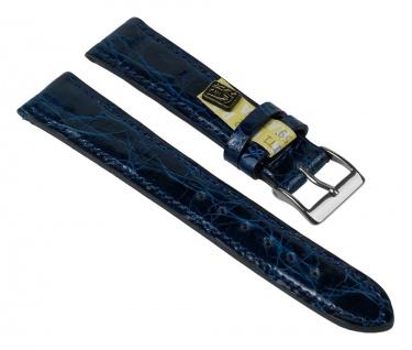 Uhrenarmband XL Echt Krokodil Krokodilleder Band Blau 25913S-HXL