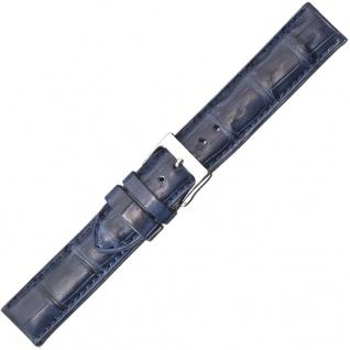 Herzog Kroko-Sport Ersatzband 22mm Uhrenarmband Leder blau Krokoleder Band IRV Zertifikat