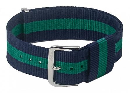 s.Oliver Nato-Band Uhrenarmband Durchzugsband Textil Band mit Metallschlaufen 20mm blau/grün SO-3105-LQ