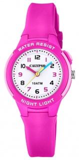 Calypso Kinderarmbanduhr Quarzuhr Analoguhr Kunststoffuhr pink mit Silikonband und Hintergrundlicht K6069/1