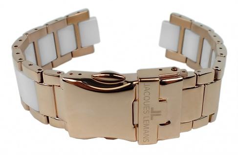 Jacques Lemans Uhrenarmband Edelstahl/Ceramic Band rosé/weiß für Jubiläumsuhr 40-3 D