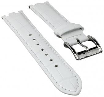 Jaguar Swiss Made Uhrenarmband Leder Band weiß in Kroko-Optik mit Naht für J674 J693