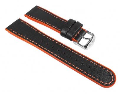 Timex Ersatzband Leder/Kautschuk Schwarz/Orange 22mm für T2M428, T2M429, T2M430, T2M431
