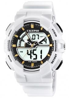 Calypso Armbanduhr PU-Band weiß Kunststoff Quarzwerk Analog Digitaluhr K5771/1 K5771