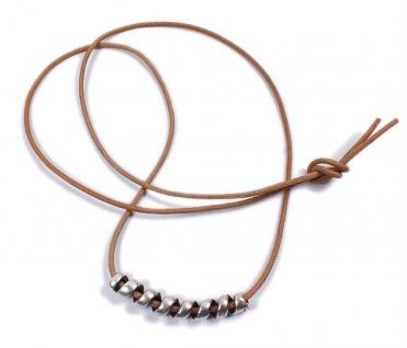 Minott Kette aus braunes Lederband zum verknoten mit Anhänger Spiralle 21511