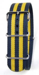 Durchzugsband Outdoor | Nato-Band mit Edelstahlschlaufen 18mm - 24mm - blau/gelb