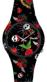 DOODLE WATCH Armbanduhr für SIE& IHN Ø 39mm Silikon Herzen & Rosen DOTA005