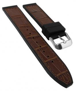 Herzog Uhrenarmband 20mm oder 22mm   Silikon/Leder-Mix, braun mit Naht 32238S