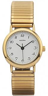 Adora Damenuhr Ø 26mm Armbanduhr 3 BAR Analoguhr Zugband Quarzuhr Metall gelbgoldfarben
