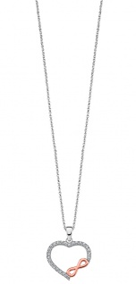 Lotus Silver Halsschmuck Collier Kette mit Herz Anhänger Silber LP1595-1/1