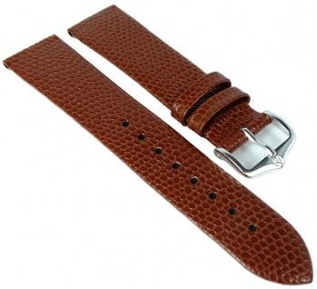 HIRSCH | Uhrenarmband > Leder, braun mit Eidechsenprägung > Dornschließe | Standard-Länge | 36405