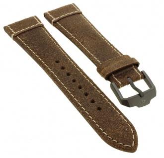 Junghans Meister Pilot Chronoskope Ersatzband 22mm braun Uhrenarmband Leder mit Naht 027/3794