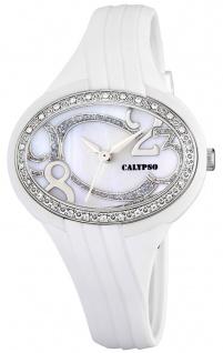 Calypso Damenarmbanduhr Quarzuhr Kunststoffuhr mit Polyurethanband und Glitzersteinchen analog K5640