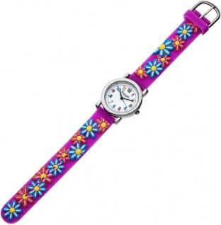 Eichmüller Kinderuhr analog lila Edelstahl Uhr Silikon bunte Blumenmotiv 34968