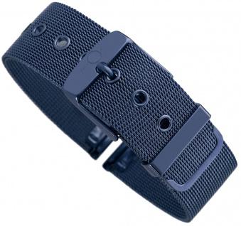 Minott Milanaise | Uhrenarmband Edelstahl Band blau mit Dornschließe 30604