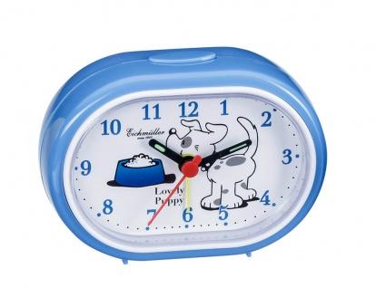 Wecker Kinderwecker Alarm Analog Kunststoff blau mit kleinem Hund Motiv