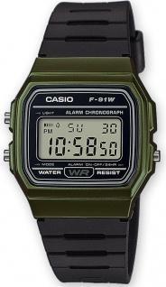 Casio Collection F-91WM-3AEF digital Uhr mit Automatischer Kalender / Resinband schwarz /grün