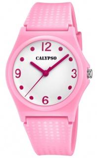 Calypso Damenarmbanduhr Quarzuhr Analoguhr Kunststoffuhr rosa mit sehr weichem Silikonband K5743/3