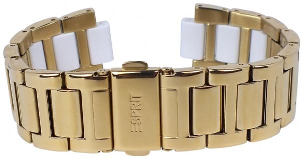 Esprit Uhrenarmband Edelstahl mit Kunststoff Band gelbgoldfarben/weiß 20mm glänzend für ES105632
