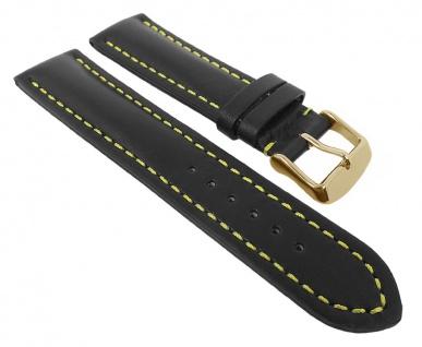 Herzog Uhrenarmband Swiss-Chrono I   Ersatzband erhältlich in 18mm - 24mm - schwarz, gelbe Naht