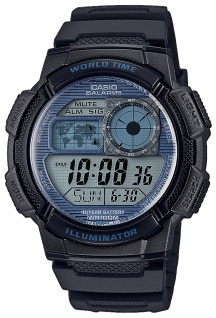 Casio Collection Digitaluhr schwarz 5 Tagesalarme LED Light AE-1000W-2A2VEF