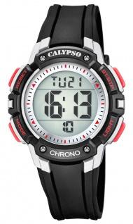 Calypso Kinderarmbanduhr Quarz Digital Kunststoff schwarz mit 2. Zeitzone Alarm Stoppfunktion K5739/4